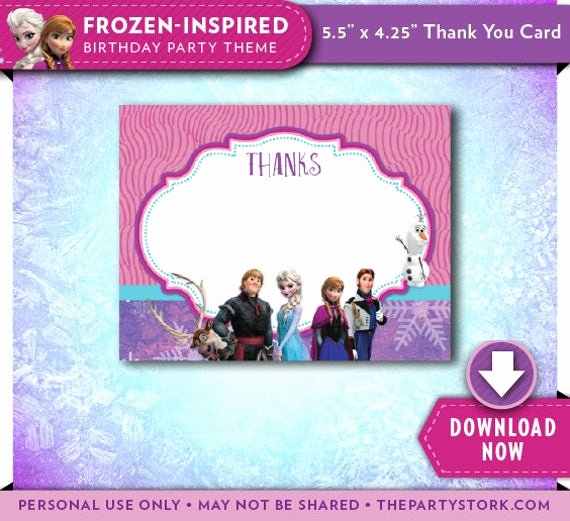 Frozen Birthday Card Printable Best Of Frozen Thank You Card Printable