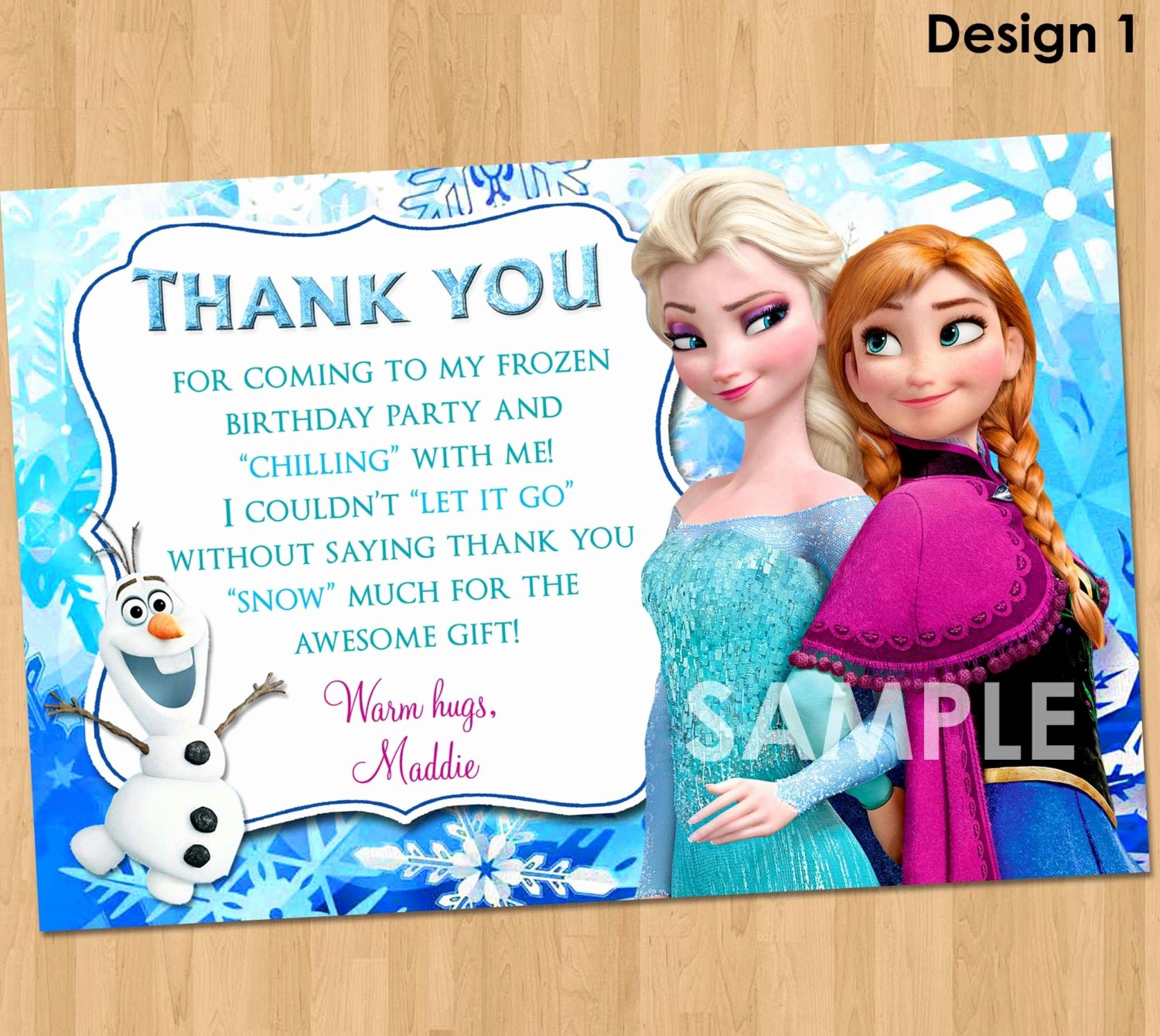 Frozen Birthday Card Printable Elegant Frozen Thank You Card Printable Frozen Thank You Note Matches
