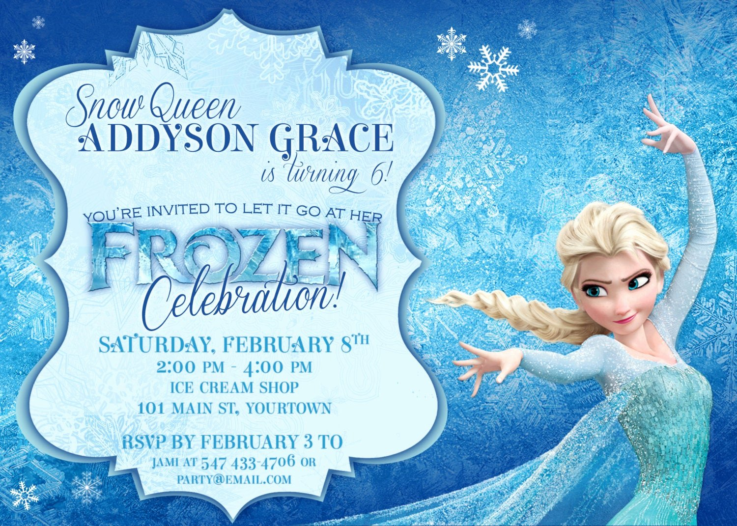 Frozen Birthday Card Printable Lovely Frozen themed Party Invitations Printable Pdfs Elsa and