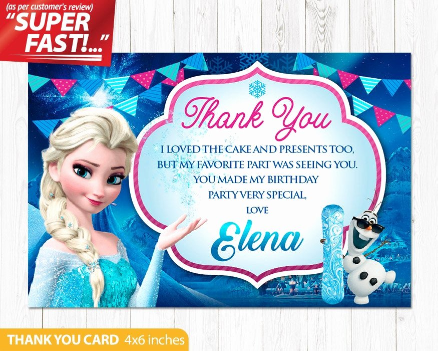 Frozen Birthday Card Printable Luxury Frozen Thank You Card Printable Frozen Birthday Thank You