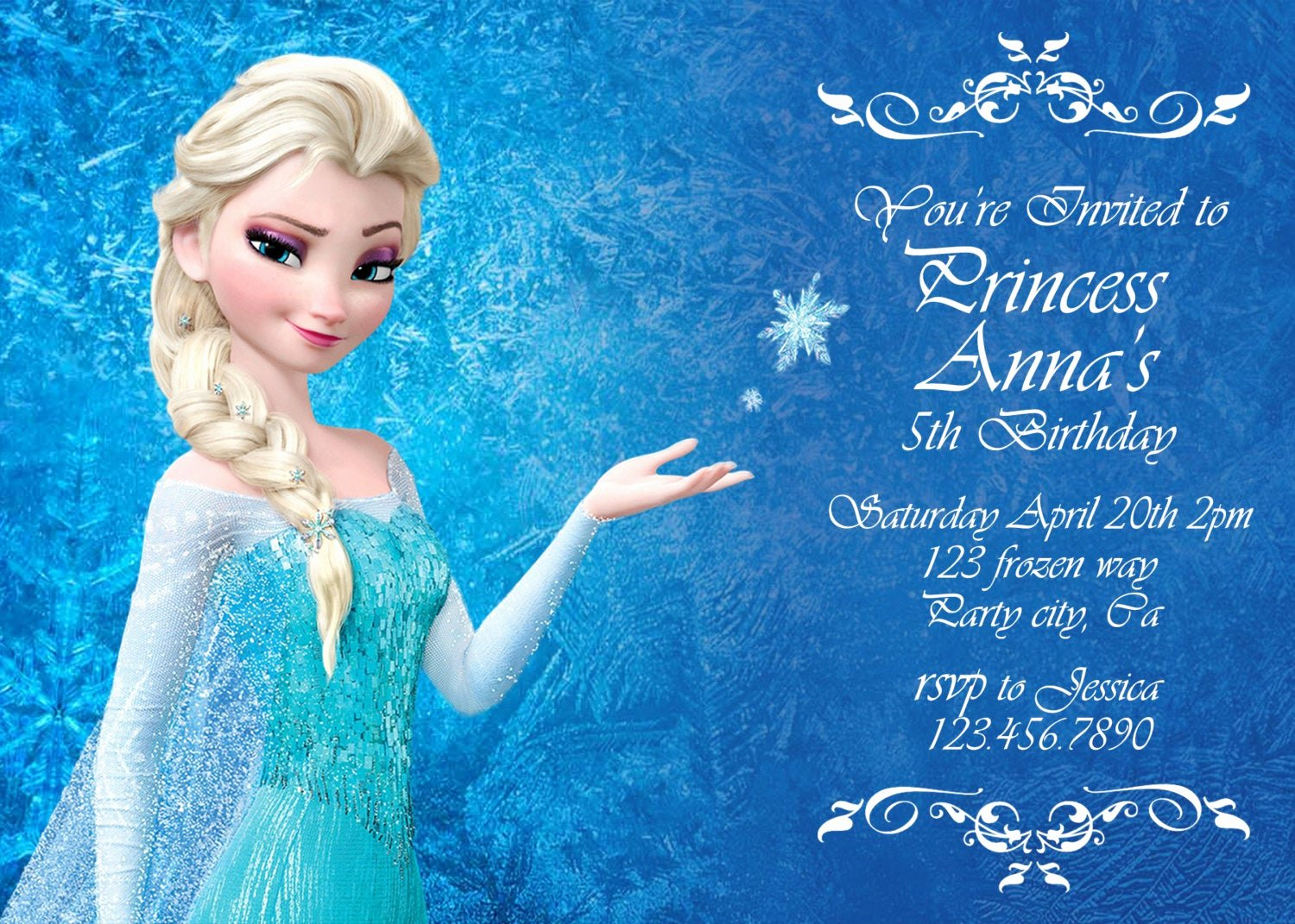 Frozen Birthday Card Printable New Frozen Birthday Invitation Disney S Frozen by