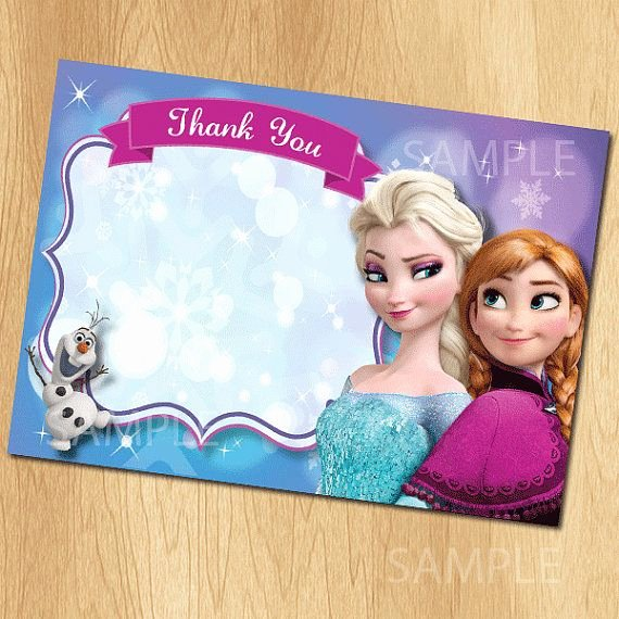 Frozen Birthday Card Printable New Frozen Thank You Card Instant Download Printable Disney