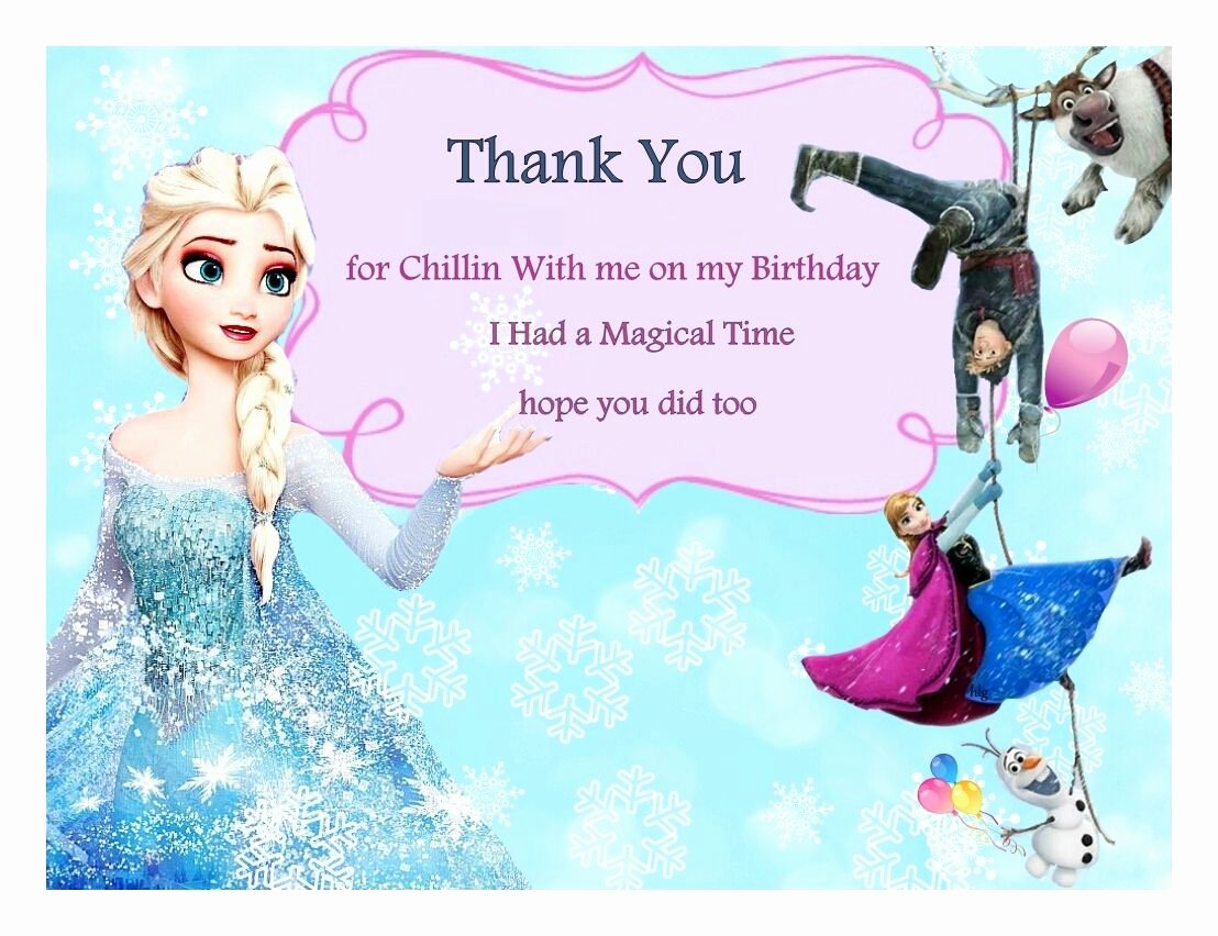 Frozen Birthday Card Printable Unique Free Frozen Birthday Thank You Cards