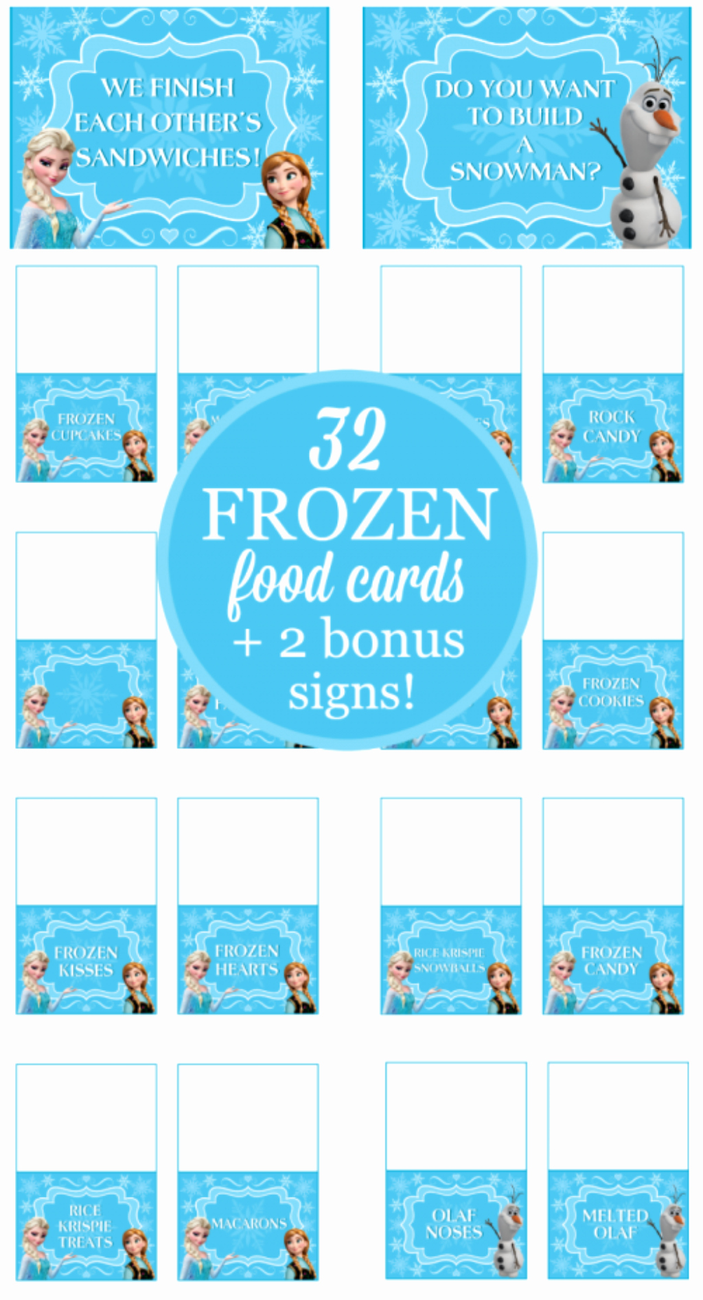 Frozen Birthday Card Printables Awesome 32 Frozen Party Food Card Printables Free Bonus Signs