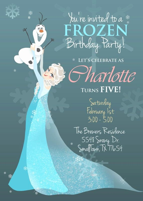 Frozen Birthday Card Printables Beautiful Frozen Illustrated Invitation Printable Pdf