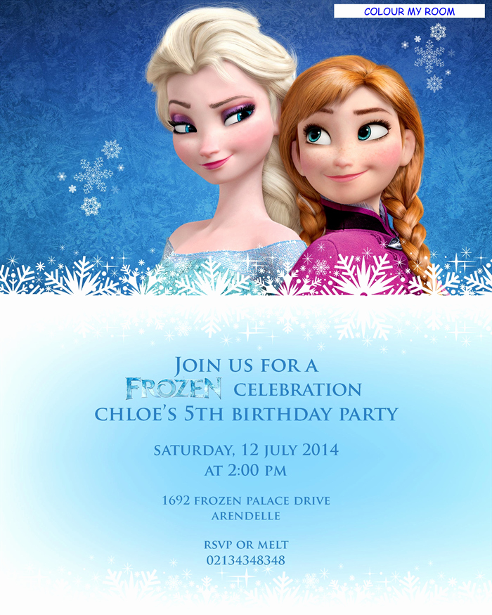 Frozen Birthday Card Printables Luxury Printable Frozen Birthday Party Personalised Invitation