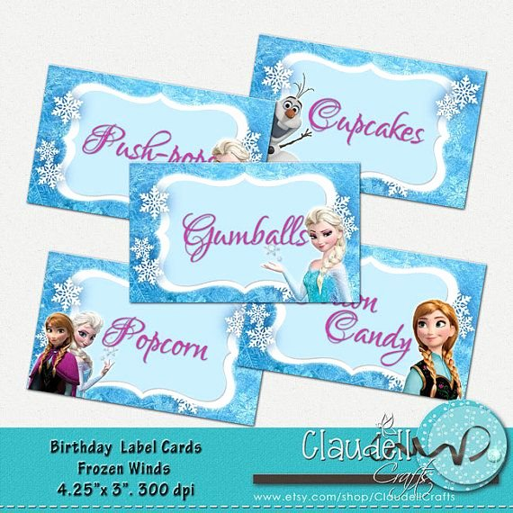 Frozen Birthday Card Printables New Frozen Winds Inspired Printable Label Cards Blank Food