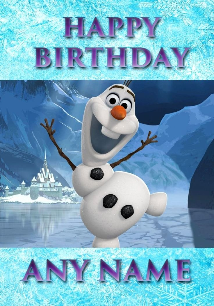 Frozen Birthday Cards Printable Best Of Frozen Snowman Olaf Personalised Birthday Card