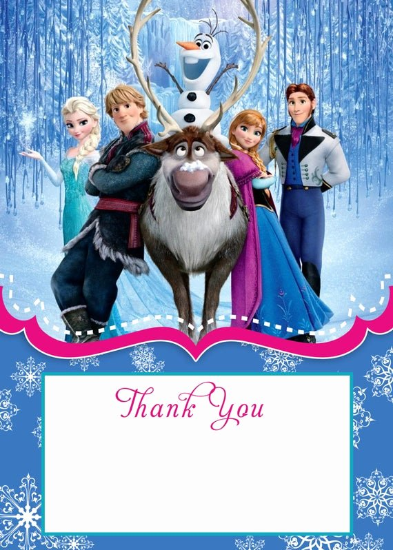 Frozen Birthday Cards Printable Elegant Frozen Thank You Card 5x7 Instant Download