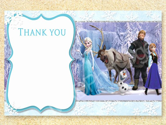 Frozen Birthday Cards Printable Fresh Items Similar to Frozen Thank You Printable Blank Cards