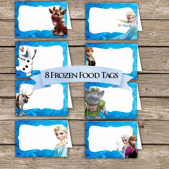 Frozen Birthday Cards Printable Inspirational Frozen Food Tents Place Holders Digital Download Frozen