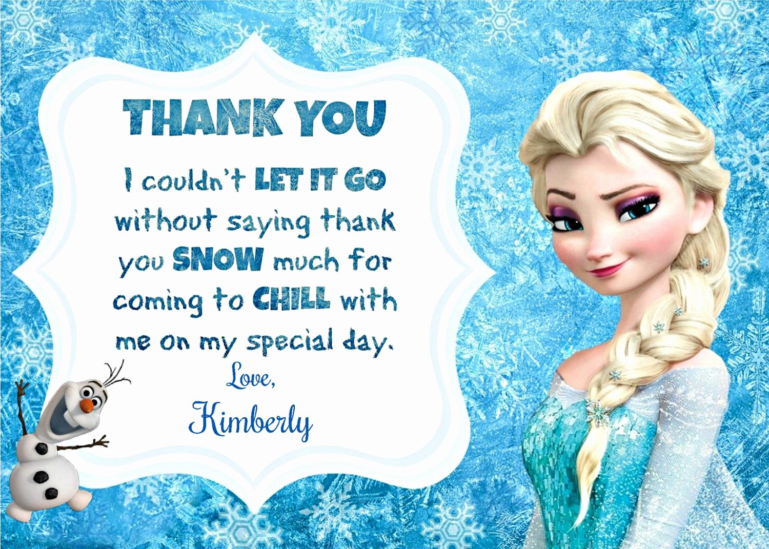 Frozen Birthday Cards Printable Luxury Frozen Thank You Printable Frozen Inspired Thank You Note
