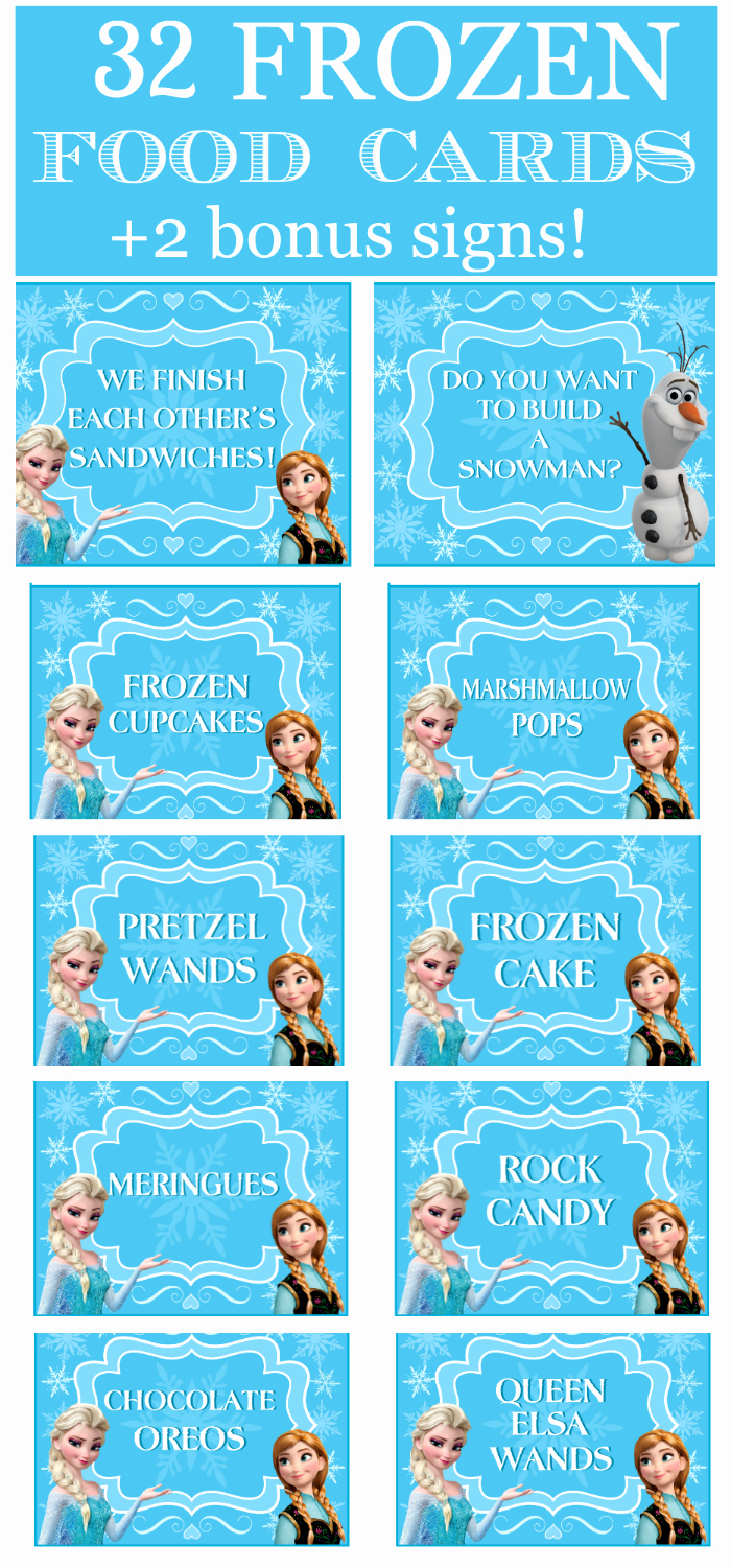 Frozen Birthday Cards Printable New Frozen Party Food Cards & Bonus Signs