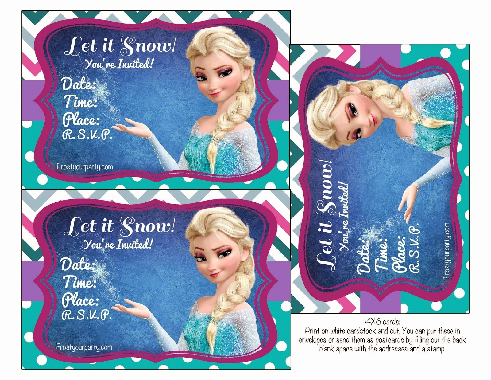 Frozen Birthday Cards Printable Unique Frozen Colored Free Printable Party Kit Oh My Fiesta