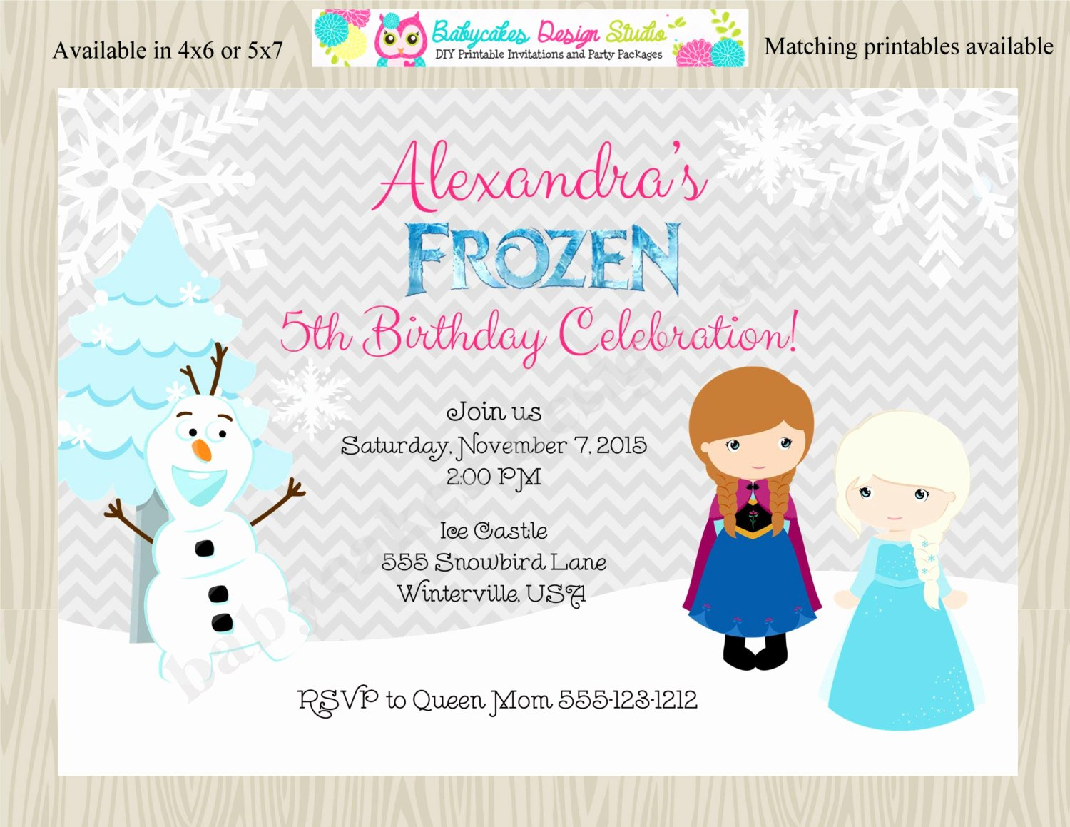 Frozen Birthday Invitation Wording Elegant Frozen Birthday Party Invitation Invite Anna Elsa Ice