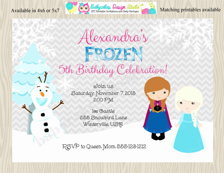 Frozen Birthday Invitation Wording Elegant Frozen Birthday Party Invitation Invite Anna Elsa Ice