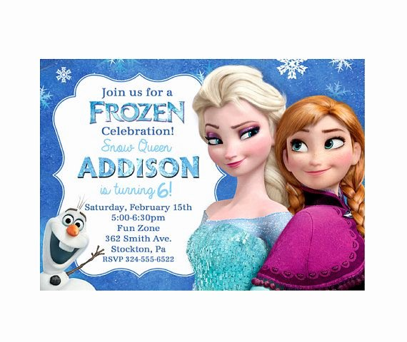 Frozen Birthday Invitations Free Awesome Disney Frozen Birthday Party Invitation Elsa Anna Olaf