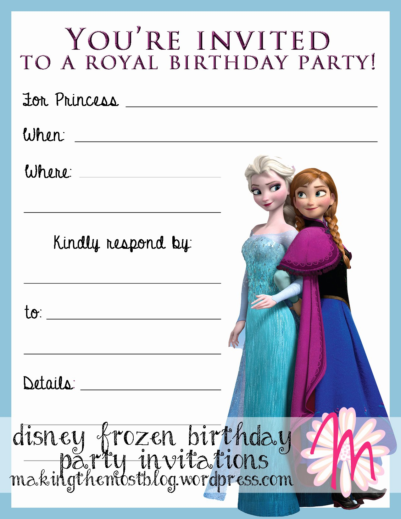 Frozen Birthday Invitations Free Elegant Printable