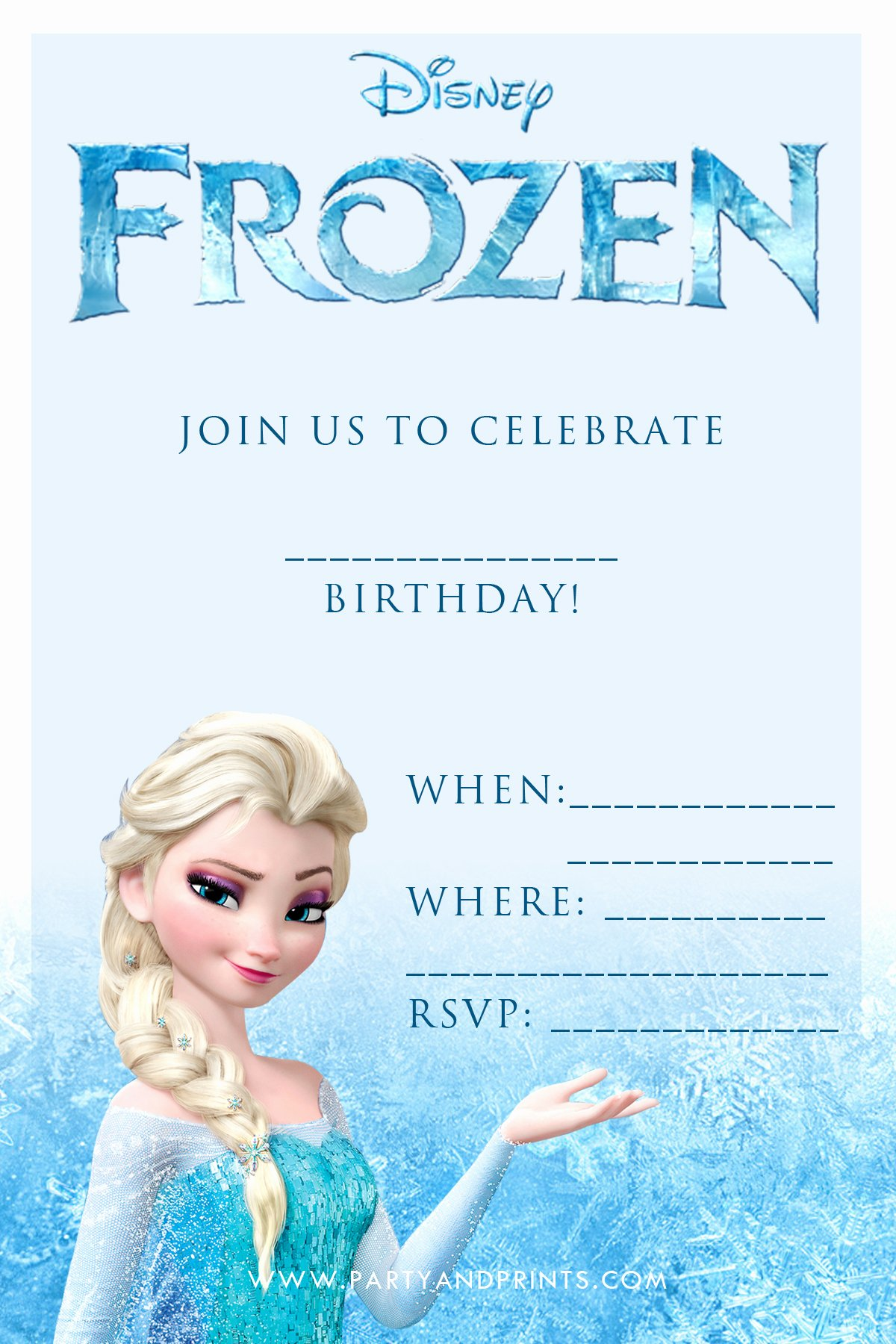 Frozen Party Invitation Template Beautiful 20 Frozen Birthday Party Ideas