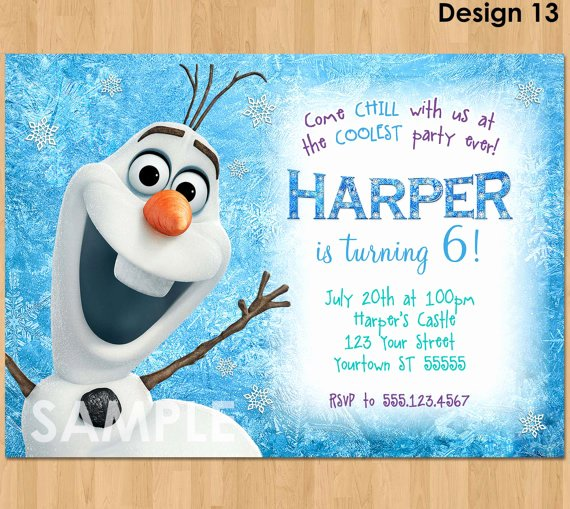 Frozen Party Invitation Template Inspirational Olaf Invitation Frozen Olaf Birthday Invitation Printable