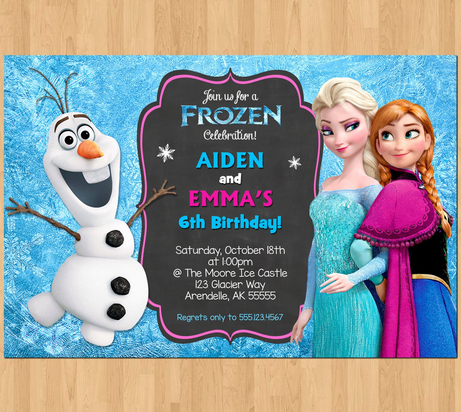 Frozen Party Invitation Template Lovely Sibling Birthday Invitation Frozen Invitation Olaf Elsa Anna