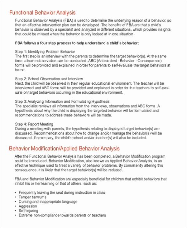 Functional Behavior assessment Template Inspirational 7 Behavior Analysis Samples Pdf Word