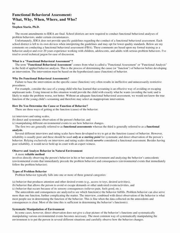 Functional Behavior assessment Template Lovely 11 Functional Behavioral Analysis Sample Pdf