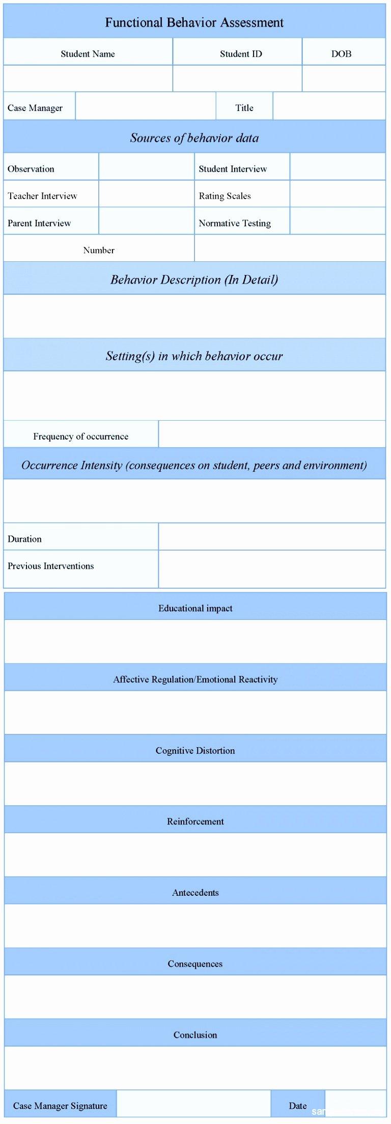 Functional Behavior assessment Template New 6 Functional Behavior assessment Template Tuwyn