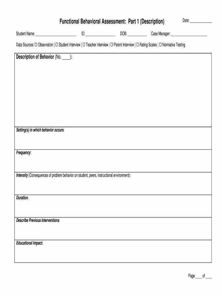 Functional Behavior assessment Template New Functional Behavioral assessment form Fill Line