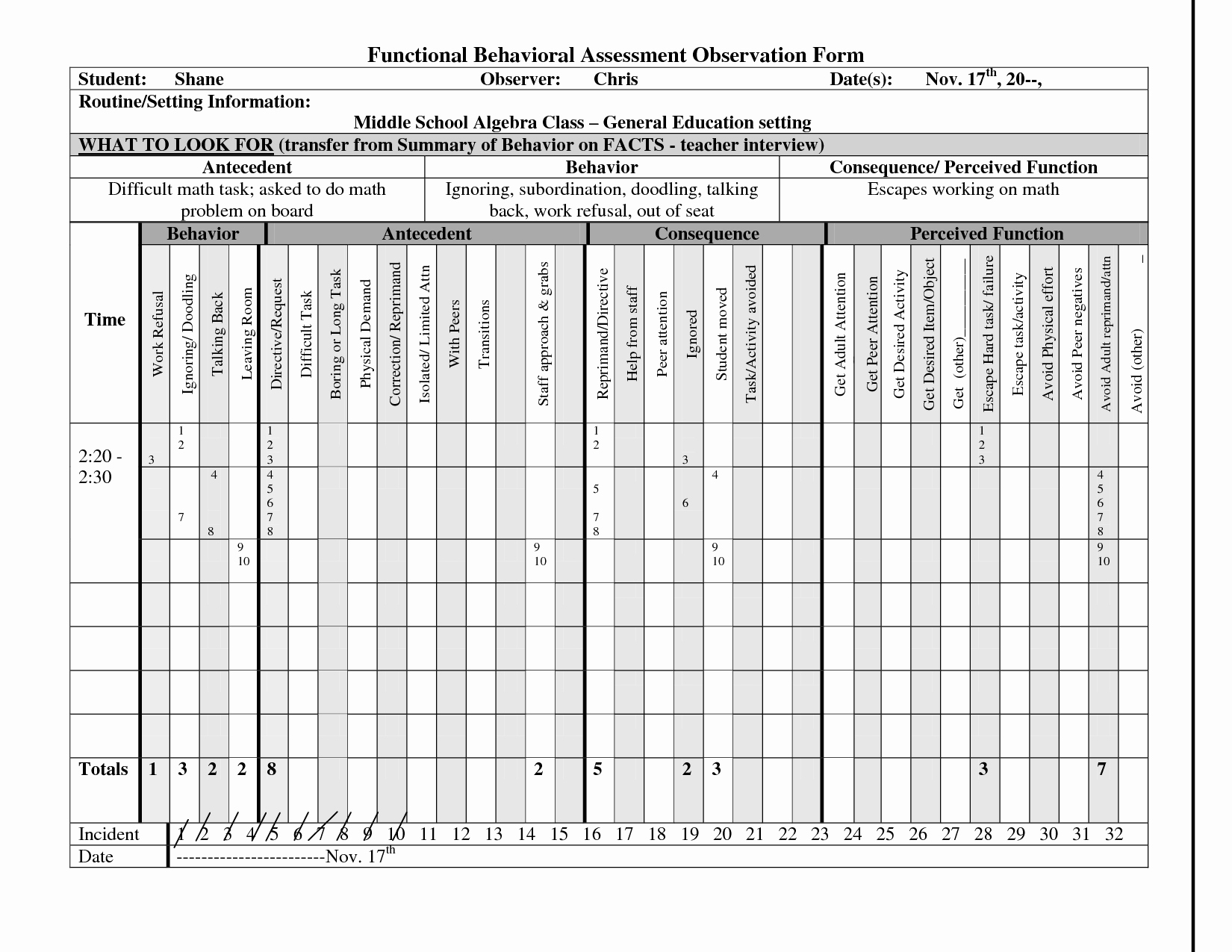 Functional Behavior assessment Template Unique Functional Behavior assessment Observation form Google