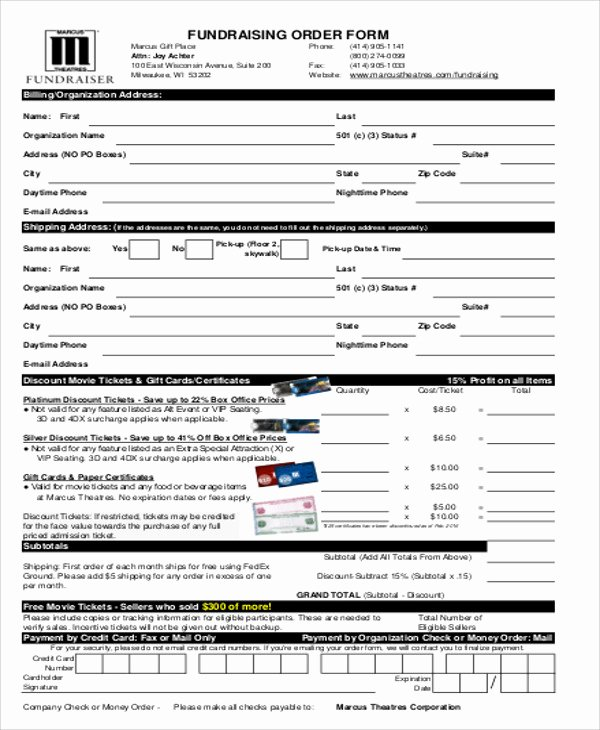 Fundraiser order form Template Word New Sample Fund Raiser order form 9 Examples In Word Pdf