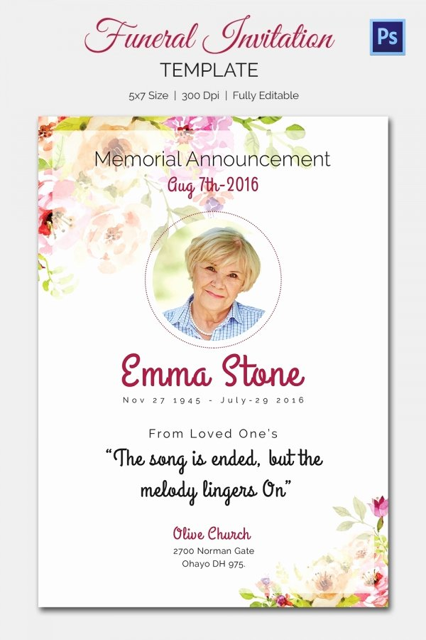 Funeral Announcement Templates Free Awesome 15 Funeral Invitation Templates – Free Sample Example