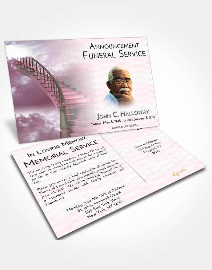 Funeral Announcement Templates Free Best Of Announcement Card Template Stairway to Heaven Divinity