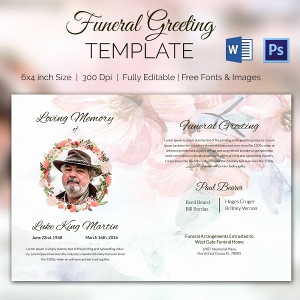 Funeral Announcement Templates Free Elegant 15 Funeral Card Templates Psd Ai Eps