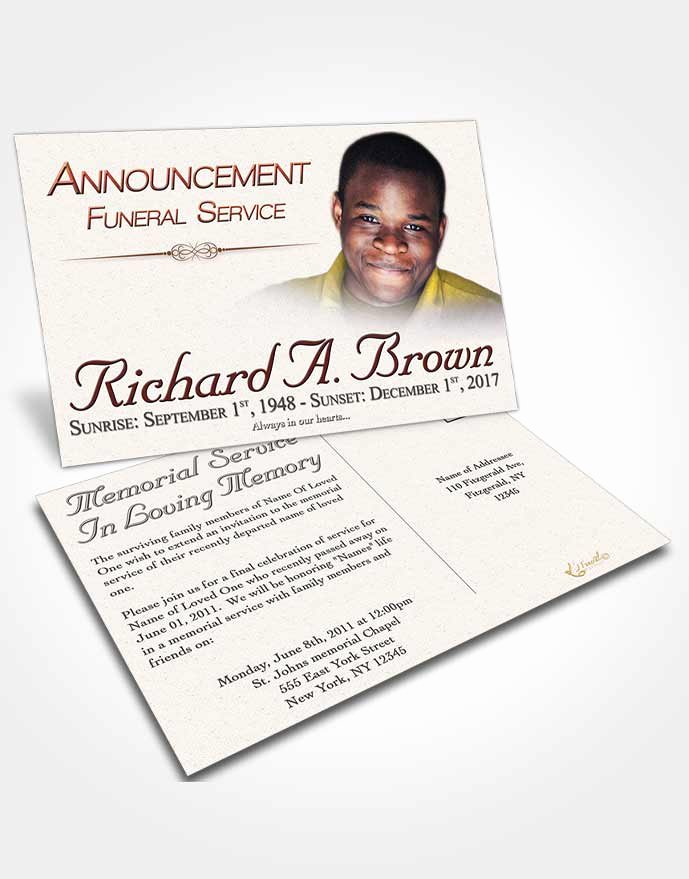 Funeral Announcement Templates Free Elegant Announcement Card Template Elegant Bliss