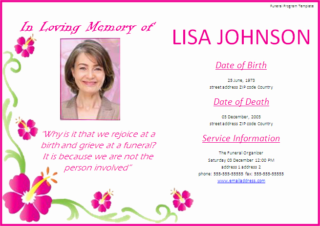 Funeral Announcement Templates Free Elegant Funeral Program Templates