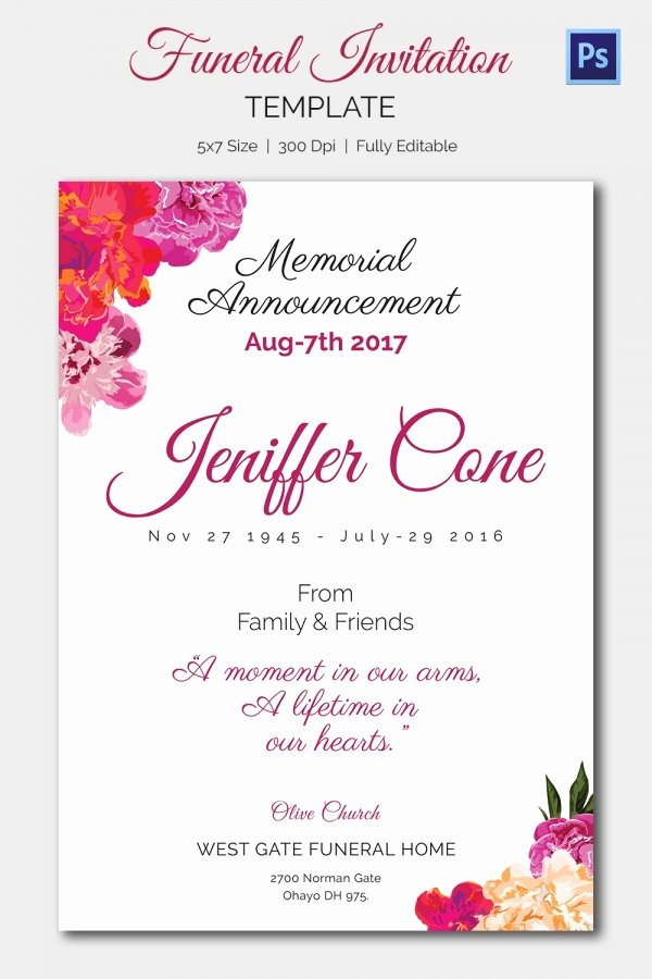 Funeral Announcement Templates Free Inspirational Funeral Invitation Template – 12 Free Psd Vector Eps Ai