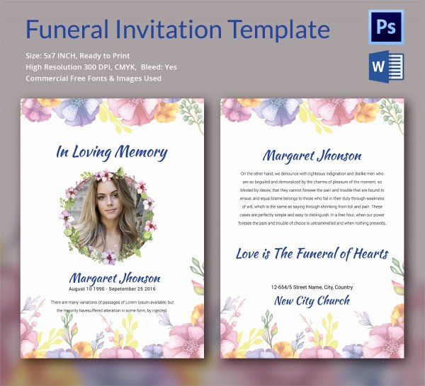 Funeral Announcement Templates Free Luxury Sample Funeral Invitation Template 11 Documents In Word