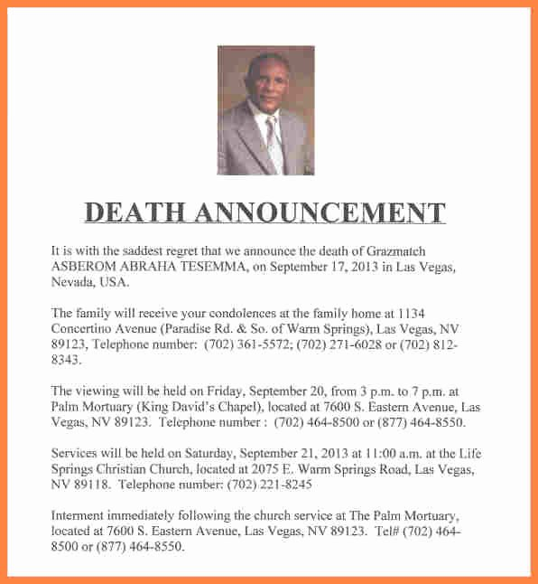 Funeral Announcement Templates Free New 7 Funeral Notice Examples