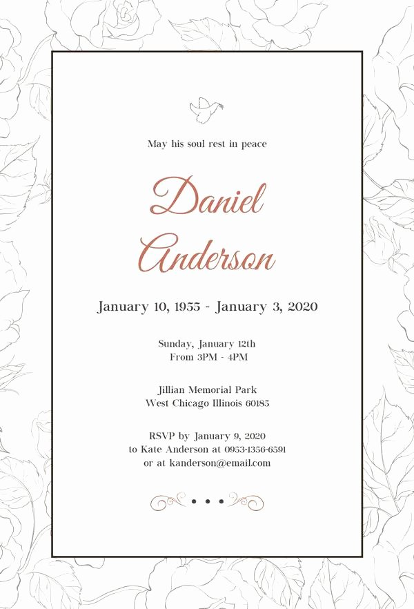 Funeral Announcement Templates Free New Free Funeral Invitation Templates