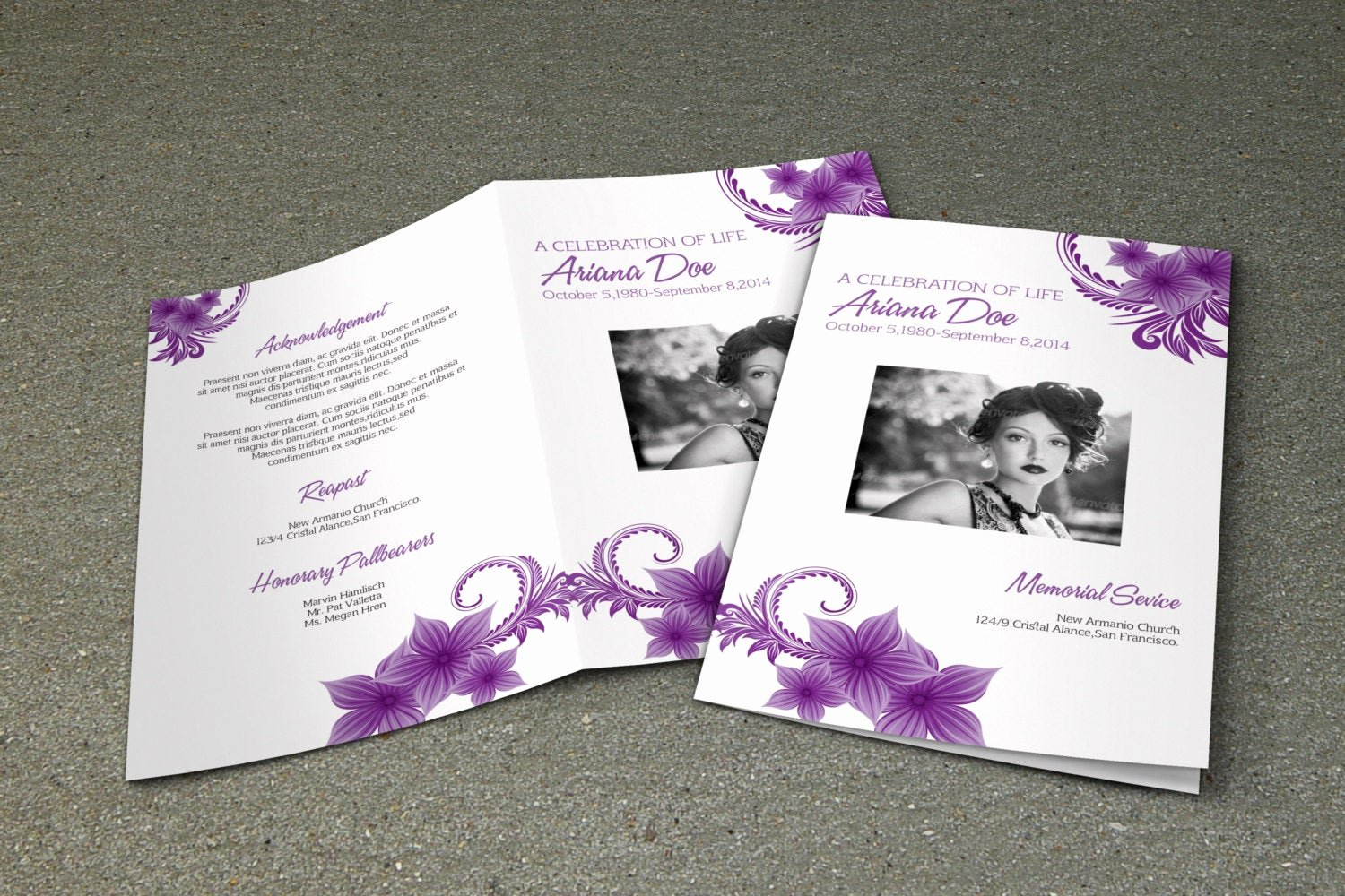 Funeral Program Free Template Awesome Purple Flower Funeral Program Template Printable Memorial