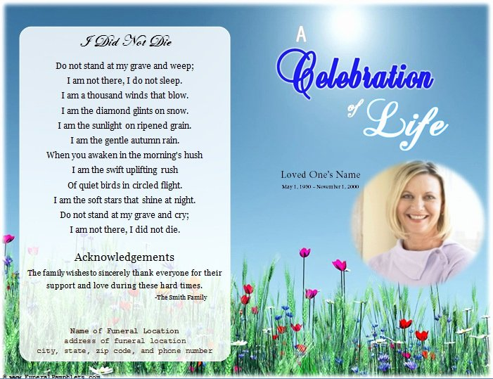 Funeral Program Free Template Beautiful Life Single Fold Memorial Program Funeral Pamphlets