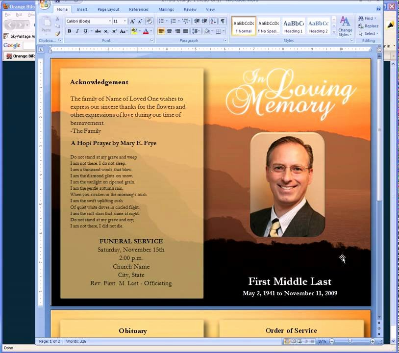 Funeral Program Free Template Fresh Free Funeral Program Templates
