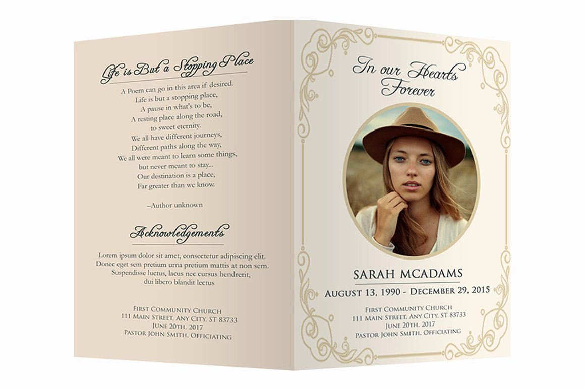 Funeral Program Free Template Fresh Funeral Program Template Brochure Templates Creative
