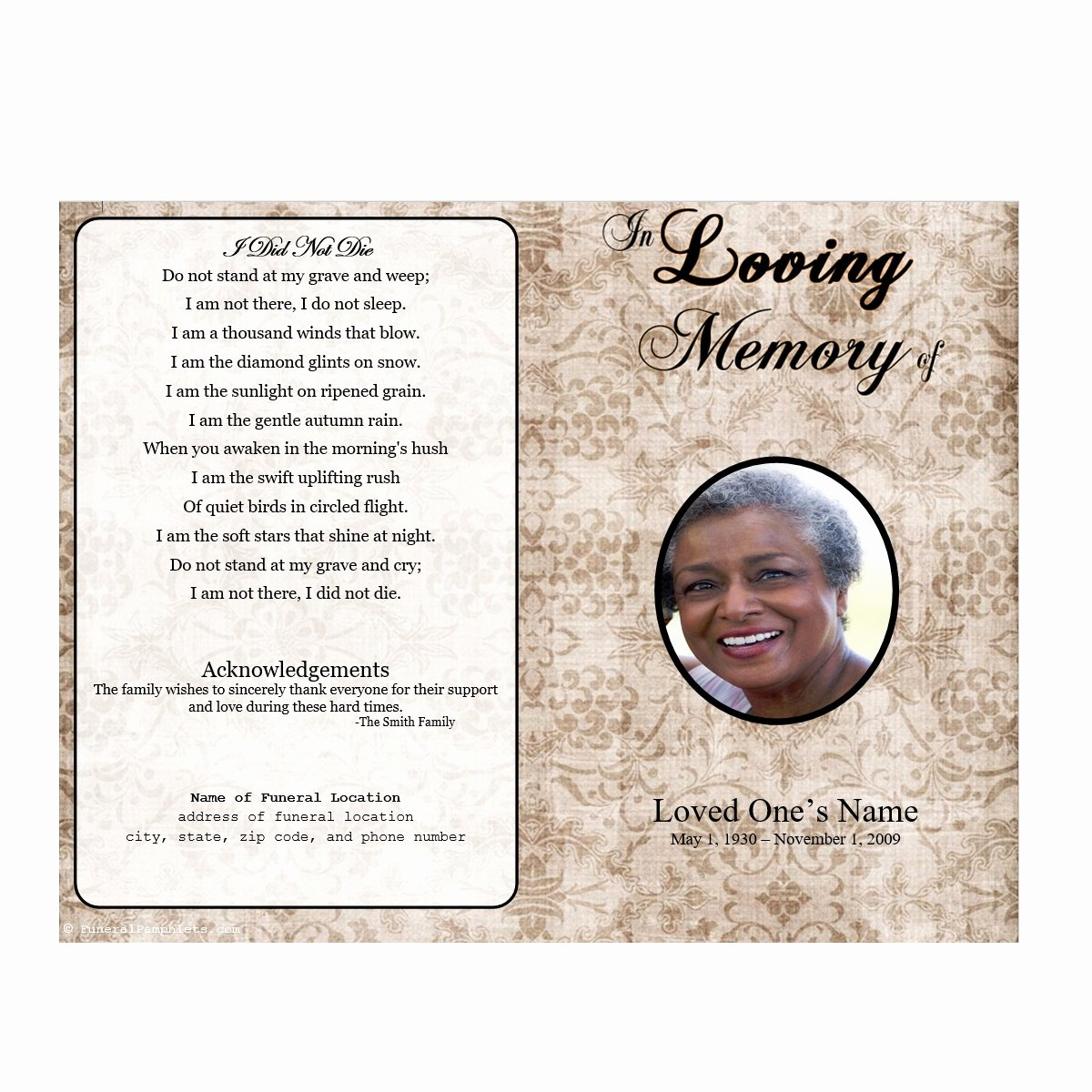 Funeral Program Free Template Inspirational Floral Designs Single Fold Memorial Program