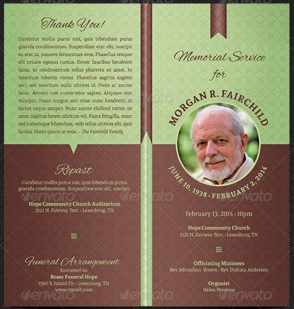 Funeral Program Free Template Lovely 17 Funeral Program Templates