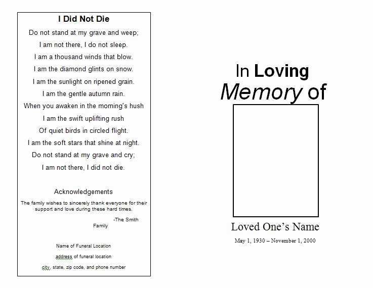 Funeral Program Free Template Lovely the Funeral Memorial Program Blog Free Funeral Program