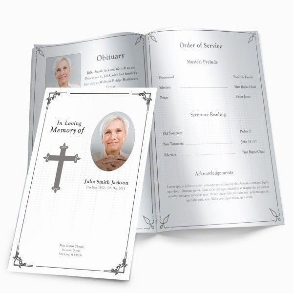 Funeral Program Free Template Unique Traditional Cross