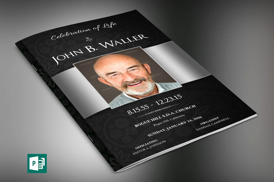 Funeral Program Template Publisher Beautiful Black Silver Dignity Funeral Program Publisher Template