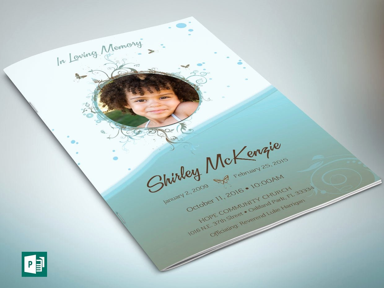Funeral Program Template Publisher Beautiful Blue Princess Funeral Program Publisher Template